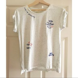 NWT H&M embroidered text tee